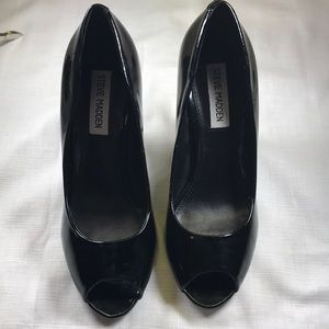 Steve madden patent leather heels open toe
